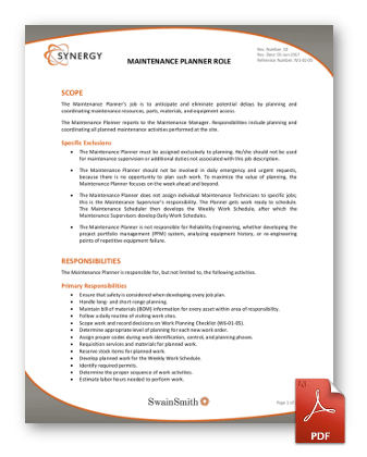 Synergy Maintenance Planner Role