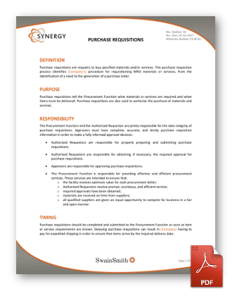 Synergy Purchase Requisitions